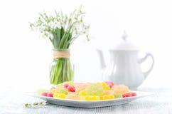 Snowdrops da mola e doces do fruto de sobremesa com o potenciômetro do café no fundo branco imagens de stock royalty free