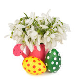 Snowdrops and Easter colored eggs Royalty Free Stock Photos