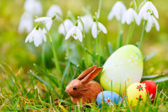Snowdrops, easter eggs and bunny on meadow Royalty Free Stock Photography
