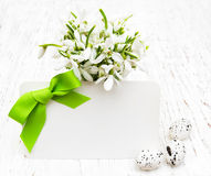 Snowdrops, easter eggs and greeting card Stock Photo