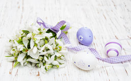Snowdrops and easter eggs Royalty Free Stock Photo