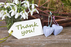 Thank you. Snowdrops, hearts and label with lettering Thank you Royalty Free Stock Photos
