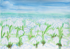 Snowdrops, painting watercolor Royalty Free Stock Photo