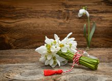 Snowdrops on wooden background stock images