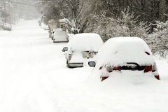 Snowed In. These are cars that were snowed in for a while during a snow storm in Oregon stock photo