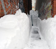 Snowed in Alley Royalty Free Stock Photos