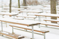 Snowed benches in winter park Royalty Free Stock Photography