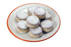 Snowed cakes. Snowed sugar cakes, popular at Christmas time in Spain stock photography