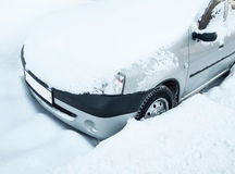 Snowed car stock photography