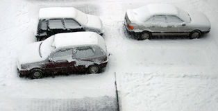 Snowed cars Stock Photos