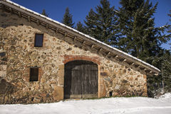 Snowed house. In a clear winter day in Catalonia Royalty Free Stock Photo