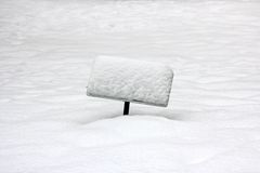 Free Snowed-in Sign On A Field Of Snow Stock Images - 21681574