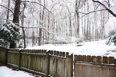 Snowed Landscape on backyard royalty free stock photos