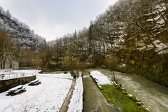 Snowed landscape and river, Doubs, France Royalty Free Stock Photography