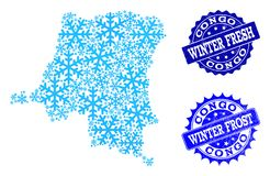 Snowed Map of Democratic Republic of the Congo and Winter Fresh and Frost Grunge Stamps stock illustration