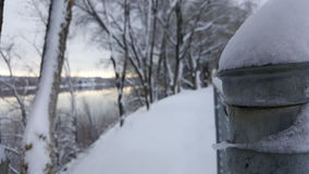 Snowed in metal fence. Fence over looking the Columbia River Royalty Free Stock Photo