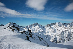 Snowed mountain. S in the Pyrenees, Andorra stock photo