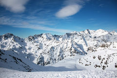 Snowed mountain. S in the Pyrenees, Andorra stock photography