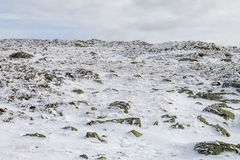 Snowed mountain surface at winter landscape scene Royalty Free Stock Photos