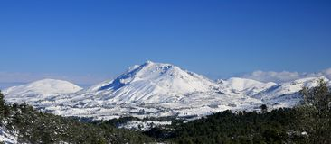 Snowed mountains. View of the north of Alicante snowed royalty free stock images