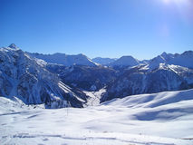 Snowed mountains. In the Alps - Briancon - France Royalty Free Stock Photo