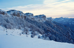 Snowed mountains of Nivolet near Chambery, France Royalty Free Stock Image