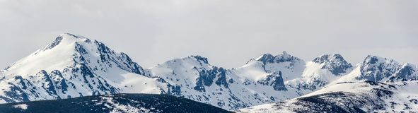 Snowed mountains in sierra de gredos panoramic view Royalty Free Stock Photography