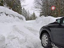 Snowed road closed Royalty Free Stock Image