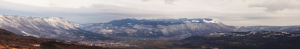 Snowed valley panorama Royalty Free Stock Image