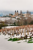 Snowed view of Vermont, Beaujolais, France Stock Photos