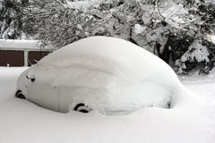 Snowed white car Royalty Free Stock Photos