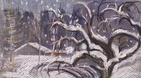 Snowfall. Snow fell asleep an old apple-tree Stock Images