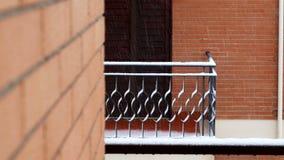 Snowfall against balcony terrace. Snowfall against balcony or terrace stock video footage