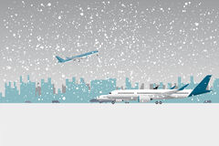 Snowfall in airport. Stock Image