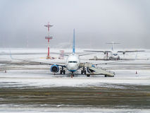 After a snowfall at the airport Royalty Free Stock Images