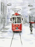 Snowfall And Old Tram Stock Images