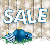 Snowfall Ash Wood Blue Baubles Sale Royalty Free Stock Images
