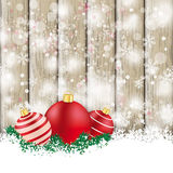 Snowfall Ash Wood Red Baubles Sale Stock Photo