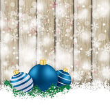 Snowfall Ash Wooden Background Blue Baubles Stock Images
