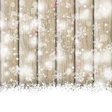 Snowfall Ash Wooden Background Stock Photography
