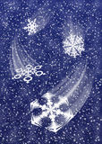 Snowfall B1. Illustration of close-up view of swirling snowflakes Royalty Free Stock Photography