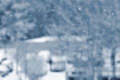 Snowfall. Beautiful winter background seasonal nature and the weather in winter. Winter landscape with falling snow. Snowfall. Beautiful winter background Stock Photography