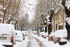Snowfall in Belgrade Royalty Free Stock Images