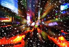 snowfall Belysning- och nattljus av New York City arkivbilder