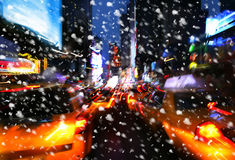 snowfall Belysning- och nattljus av New York City Royaltyfri Foto