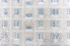 Snowfall in a big city Stock Photos