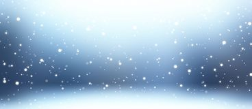 Snowfall blue banner 3d illustration. Empty winter abstract background. Blurred texture. Snowy room. Stylish image for a variety of design: advertising Royalty Free Stock Photo