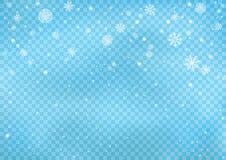 Snowfall on blue transparent background vector illustration
