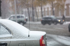 Snowfall at blurry city street Royalty Free Stock Photography