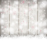 Snowfall Bokeh Wooden Background Royalty Free Stock Photo